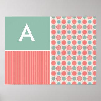 Salmon, Coral Pink, & Seafoam Polka Dots Posters