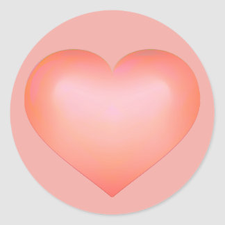Salmon fade heart classic round sticker