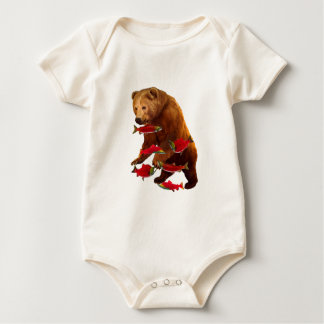 Salmon fishing baby bodysuit