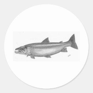 Salmon Fishing Classic Round Sticker