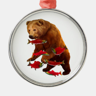 Salmon fishing metal ornament