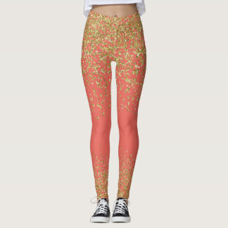 Salmon & Gold Shiny Leggings