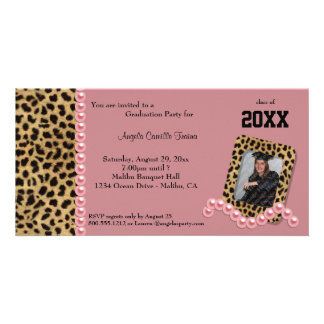 Salmon Leopard And Matching Pearls  Invitation Customised Photo Card