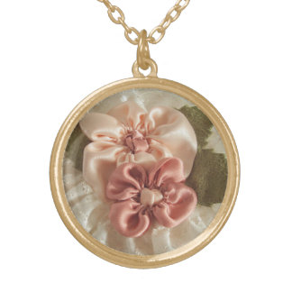 Salmon Pink And Peach Flower Round Pendant Necklace