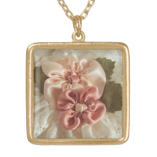 Salmon Pink And Peach Flower Square Pendant Necklace