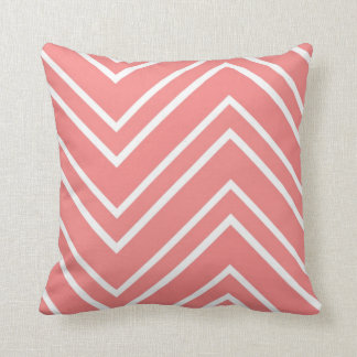 Salmon Pink and White Large Chevron Pattern Cushion