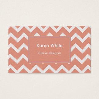 Salmon Pink Chevron Pattern Business Card