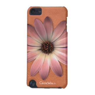 *Salmon Pink Daisy On Color Leather Texture iPod Touch 5G Case