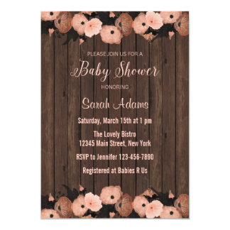 Salmon Pink Flowers Baby Shower Invitation