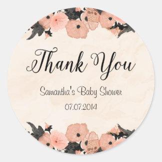 Salmon Pink Flowers Baby Shower Sticker