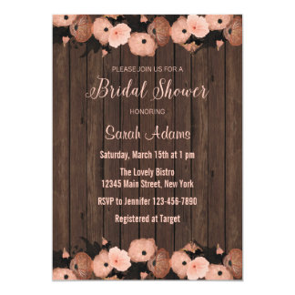 Salmon Pink Flowers Bridal Shower Invitation