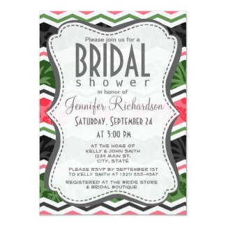 Salmon Pink, Green, and Black Tropical Hibiscus Personalized Invite