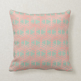 Salmon Pink Rose Gold Ethnic Blush Mint Pastel Cushion