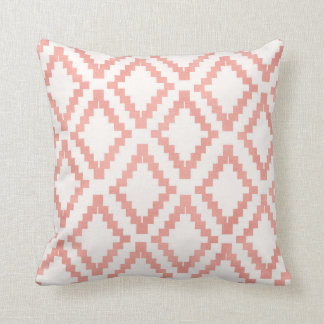 Salmon Pink Rose Gold Ethnic Blush White Cushion