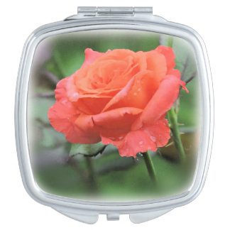 Salmon Pink Rose with Raindrops Mirror For Makeup