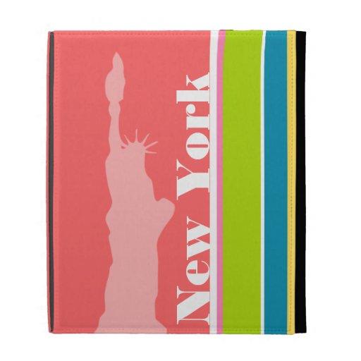 Salmon Pink & Seafoam Green; New york iPad Folio Case