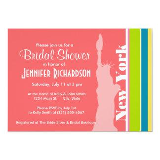 Salmon Pink & Seafoam Green; New york 13 Cm X 18 Cm Invitation Card