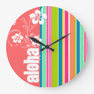 Salmon Pink & Seafoam Green Striped: Aloha Large Clock