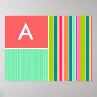 Salmon Pink & Seafoam Green Striped; Stripes Posters
