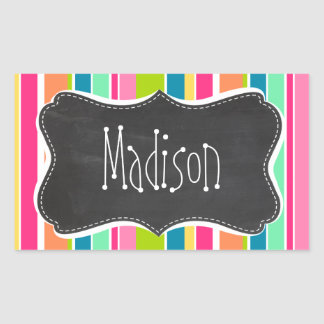Salmon Pink & Seafoam Green; Vintage Chalkboard Rectangular Sticker