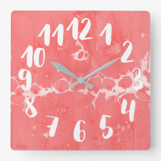 Salmon pink, water, texture design, marbling paper square wall clock