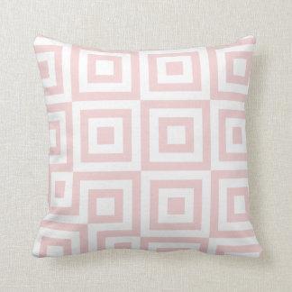 Salmon Pink & White Modern Geometric Pattern Cushion