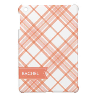 Salmon Plaid Monogram iPad iPad Mini Covers