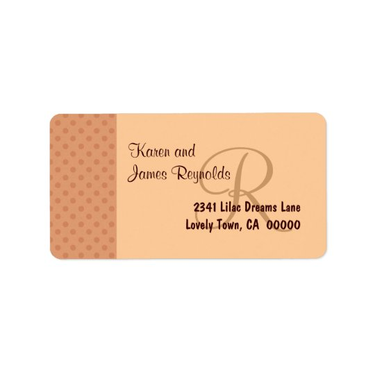 Salmon Polka Dot Pattern Monogram or Initial Address Label