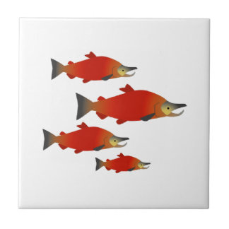 Salmon Rally Small Square Tile