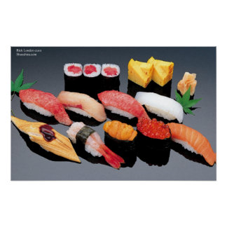 Salmon Shrimp Tuna Sushi Posters
