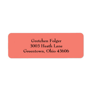 Salmon Simple Plain Return Address Labels