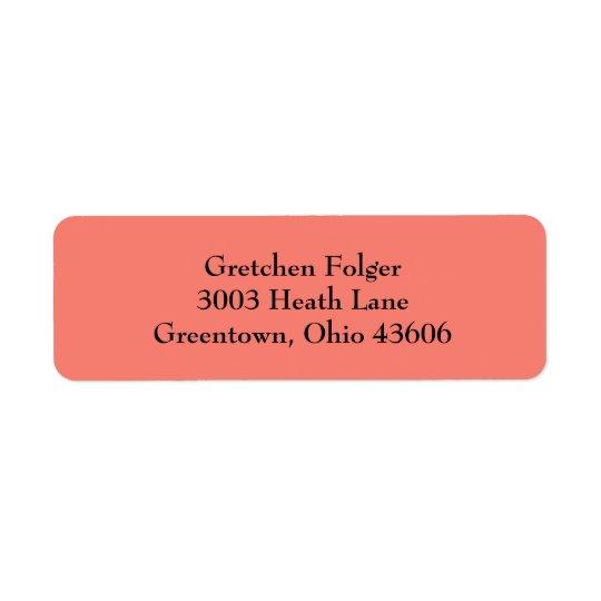 Salmon Simple Plain Return Address Labels