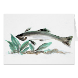 Salmon, Sumi-e Card