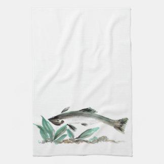 Salmon, Sumi-e Tea Towel