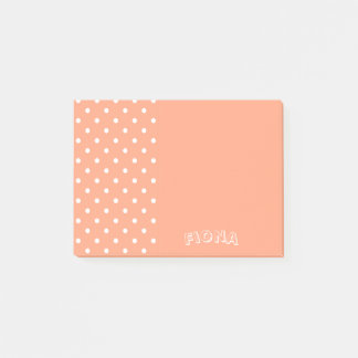 Salmon Sunset Polka Dots Personalized Post-it Notes