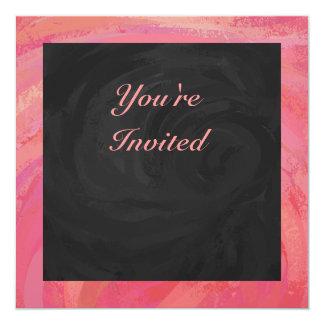 Salmon Swirl and Black Party 13 Cm X 13 Cm Square Invitation Card