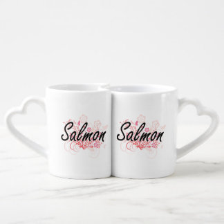 Salmons with flowers background lovers mug