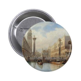 Salomon Corrodi - La Piazza San Marco, Venice Pinback Button