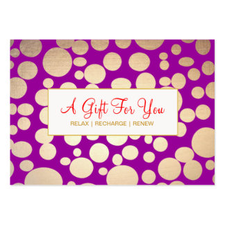 Salon and Spa Faux Gold Purple Gift Certificate Pack Of Chubby Business Cards