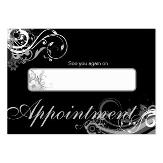 Salon Appointment Card Spa Floral Swirls Black Pack Of Chubby Business Cards