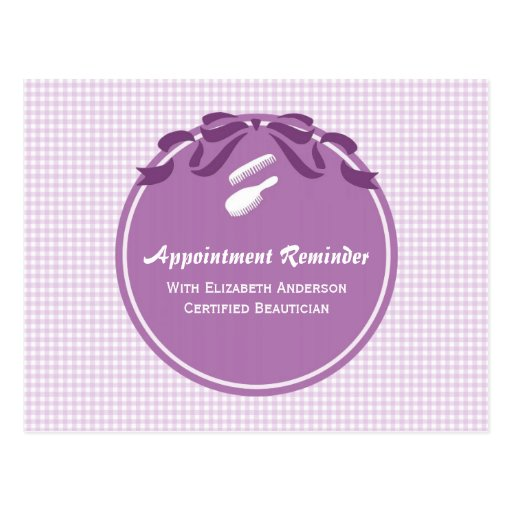 Salon Appointment Reminder Cute Country Purple Bow Postcard