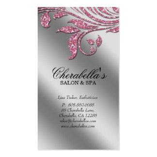 Salon Business Card Elegant Pink Silver Sparkle Le