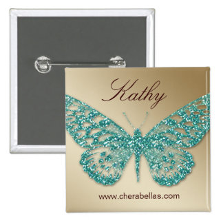 Salon Butterfly Name Tag Button Teal Gold