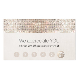 Salon Customer Loyalty 6 Punch Silver Sequin Pack Of Standard Business Cards