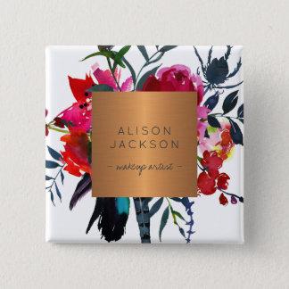 Salon employee copper metallic watercolor bouquet 15 cm square badge