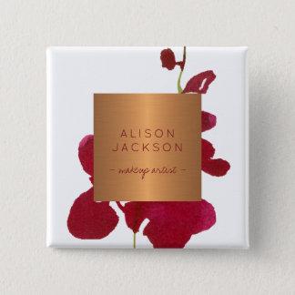 Salon employee copper metallic watercolor burgundy 15 cm square badge
