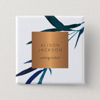 Salon employee copper metallic watercolor leaves 15 cm square badge