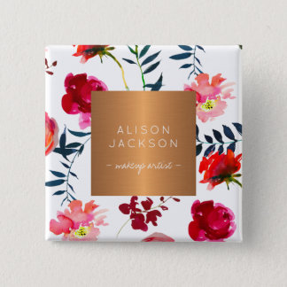 Salon employee copper metallic watercolor pattern 15 cm square badge