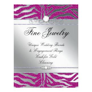 Salon Flyer Jewelry Hair Nail Zebra Glitter Pink