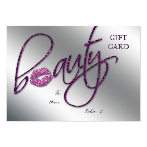 Salon Gift Card Beauty Lips Sparkle Purple Zazzle